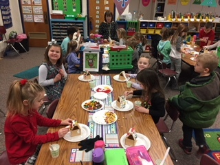 Kindergarten making Gingerbread Houses