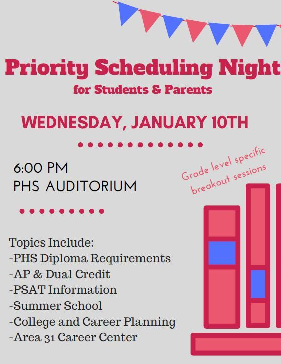 Priority Scheduling NIght for Students and Parents
