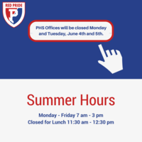 PHS Summer Office Hours to begin Tuesday, May 29th