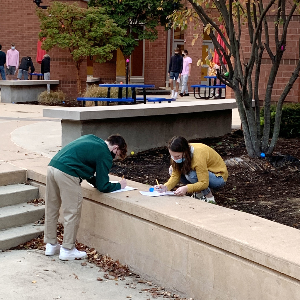 PHS Spanish students review for a test with an outdoor Easter Egg Hunt