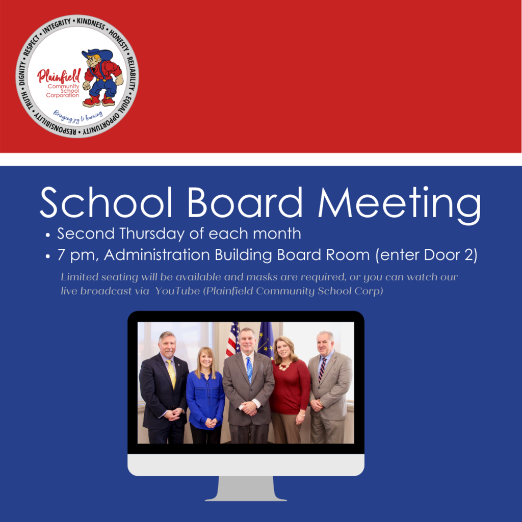 The PCSC School Board monthly meeting is this Thursday at 7 pm1