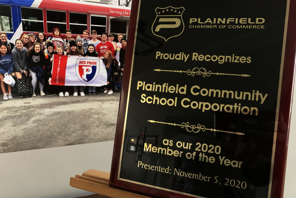 2020 Plainfield Chamber of Commerce Member of the Year plaque