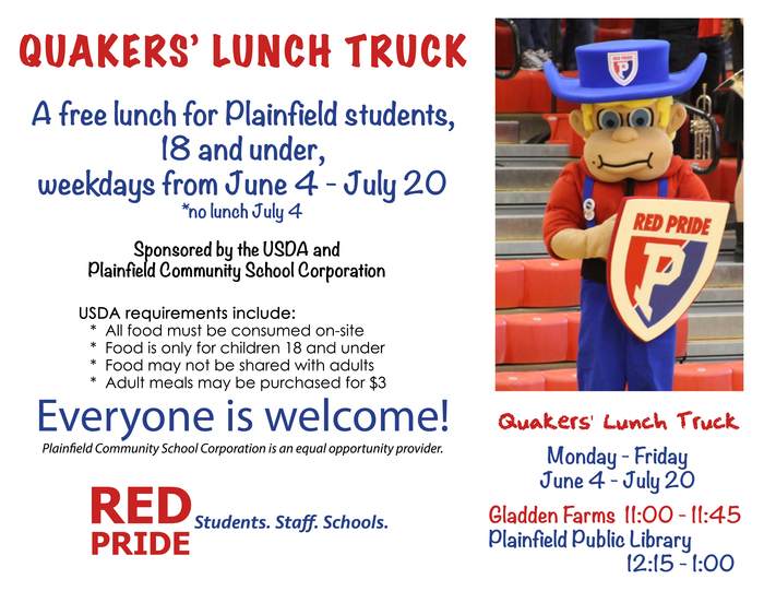 Free lunch for Plainfield students 18 & under. M-F Jun3 4 - July 20; Gladden Farms, 11-11:45; Plainfield Public Library, 12:15 - 1