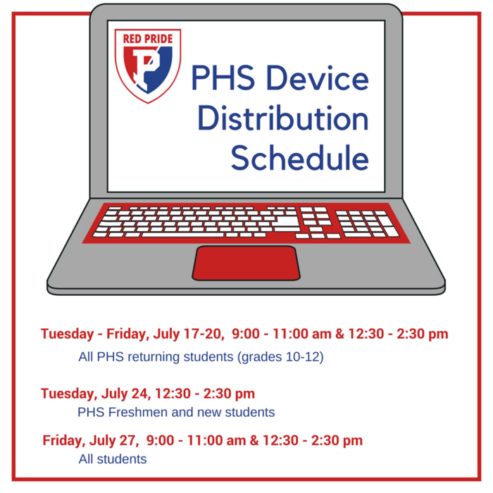 Schedule for PHS student distribution of laptops