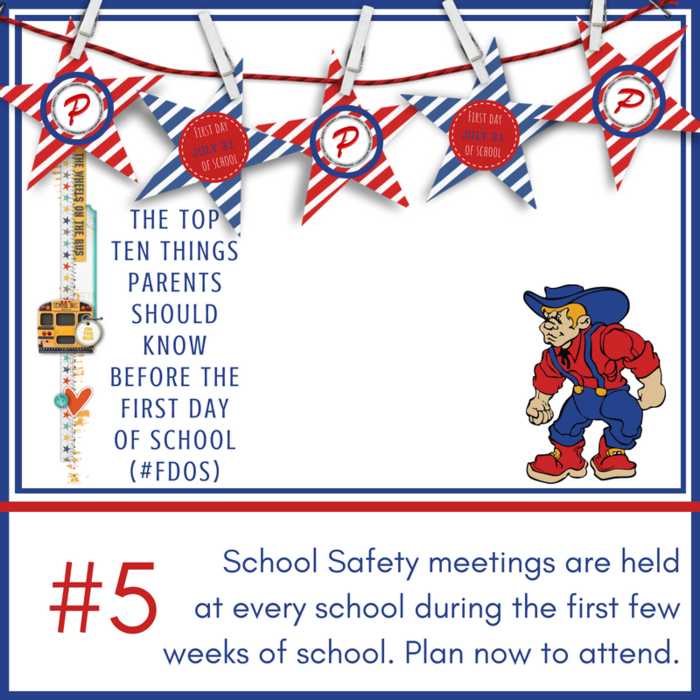 School Safety meetings are held at every school during the first few weeks of school. Plan now to attend.