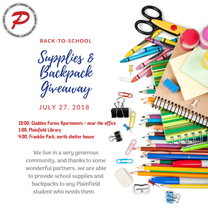 Supplies and Backpack giveaway tomorrow!