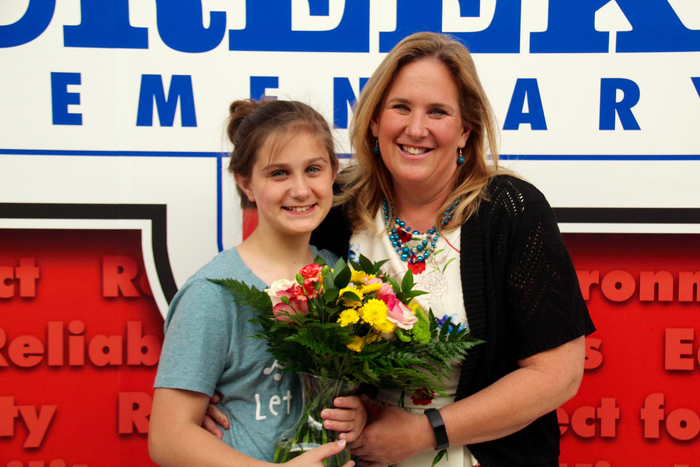 Ann Mennonno, Clarks Creek 2nd grade teacher, pictured here with her daughter, has advanced in the Indiana Teacher of the Year program!