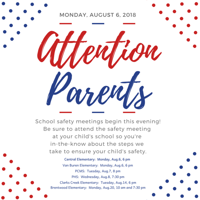 Parent meetings begin tonight - be sure to attend to learn more about how we protect students while they're in school