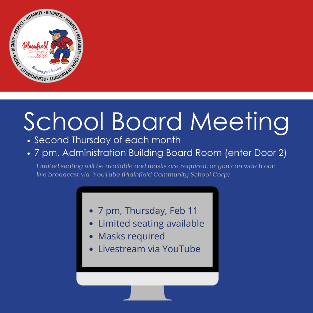 Feb School Board meeting - Thursday at 7 pm