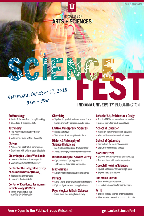 Flyer for the 2018 Indiana University ScienceFest