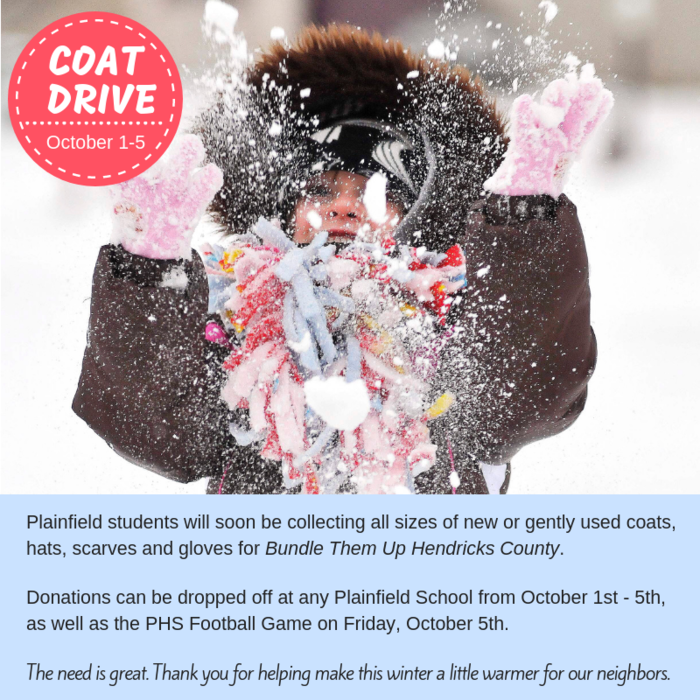 Coat Drive begins October 1st in all PCSC schools.