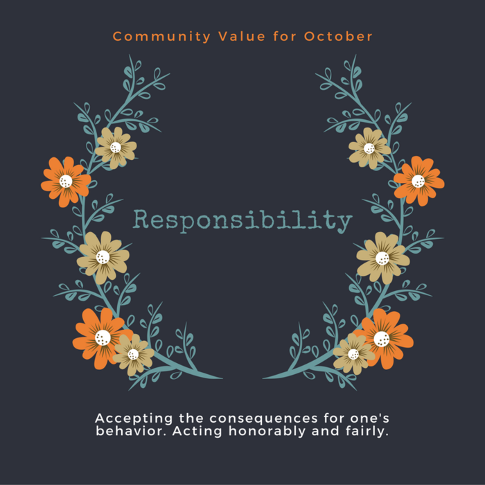 In Plainfield, our Community Value for October is Responsibility