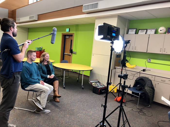 Mrs. Tutterow and Mr. Apollos bring interviewed in The Idea Lab.