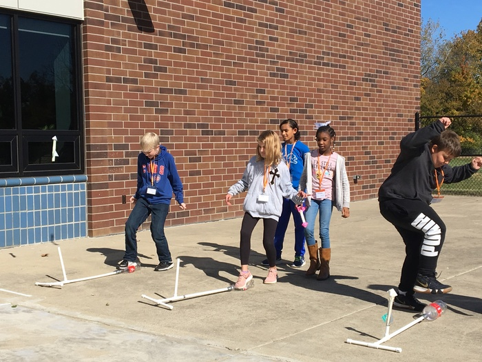 Students launch stomp rockets