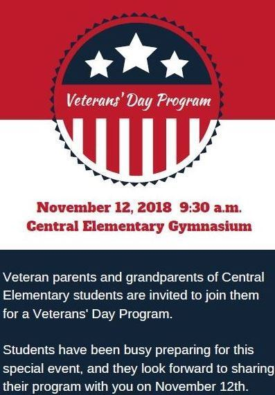 Looking forward to our Veteran's program on 11/12!