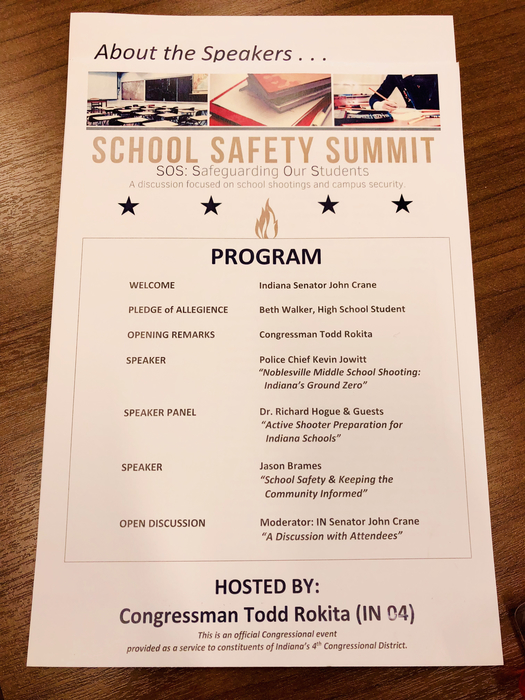 School Safety Summit today, hosted by Congressman Rokita.