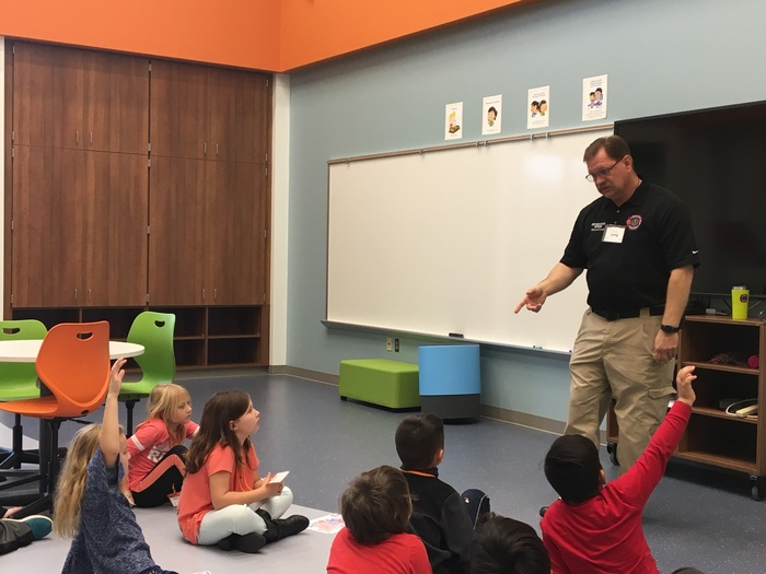 Fire prevention officer speaks to students