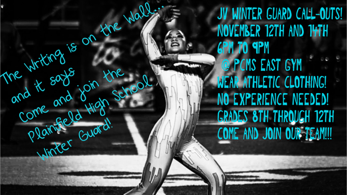 JV Winter Guard tryouts are this week for any student grades 8-12.