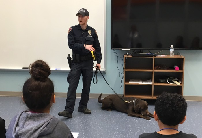 K9 officer visits Imagination Lab with police dog Jocko.