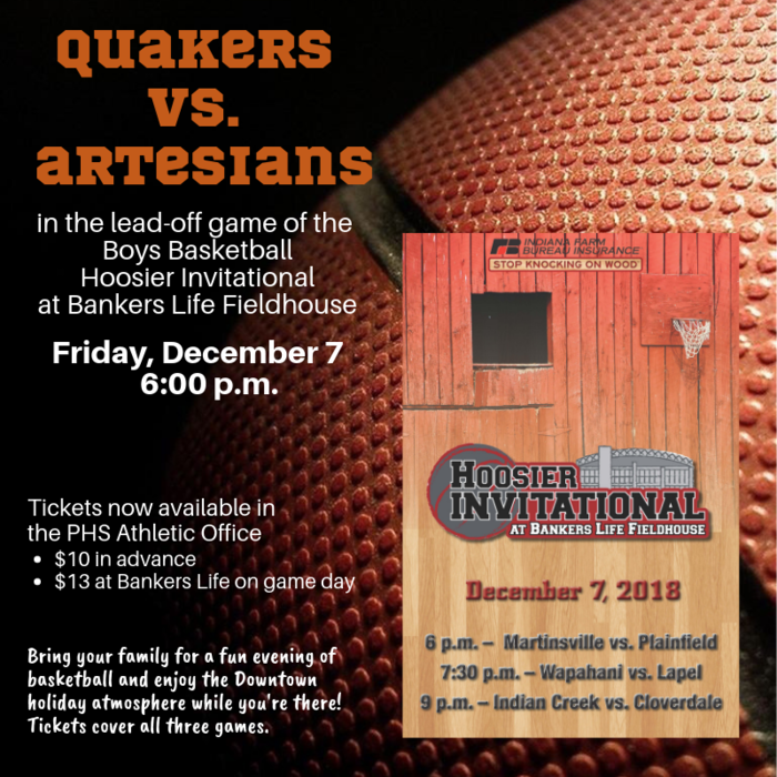 PHS Boys Basketball plays in the Hoosier Invitational at Bankers Life Fieldhouse, December 7 at 6 pm. Tickets available now at PHS for $10, or $13 at the event.