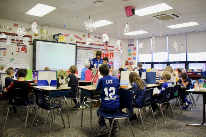 Even while taking a test, students are still supporting their @Colts!
