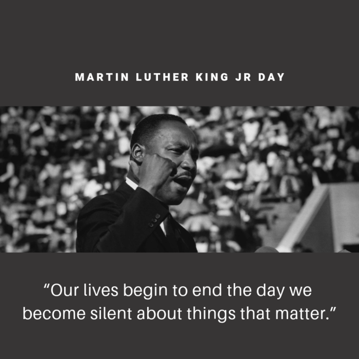 "MLK Jr: ""Our lives begin to end the day we become silent about things that matter."""