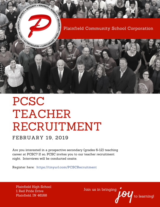 Secondary Teacher Recruitment Fair: February 19, 2019