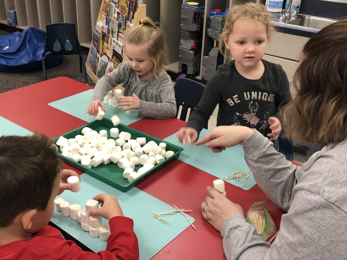 Building, balance, support and planning - all as a part of building a marshmallow snowman!