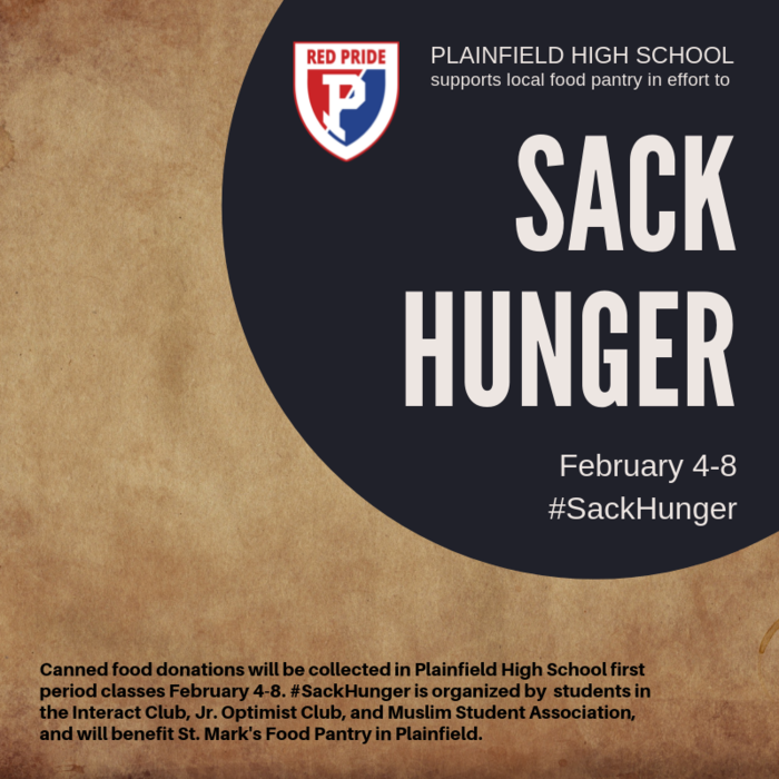 PHS Students support St. Mark's Food Pantry with a SACK HUNGER canned food drive, Feb 4 -8