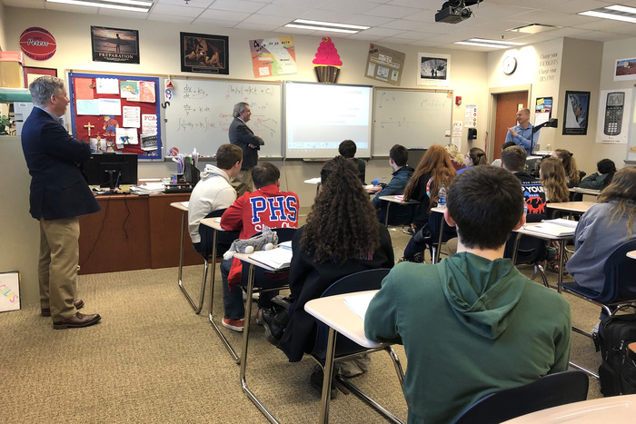 School Board members Scott Flood and Brad DuBois spent some time in Stacey Peters' Calculus class today.