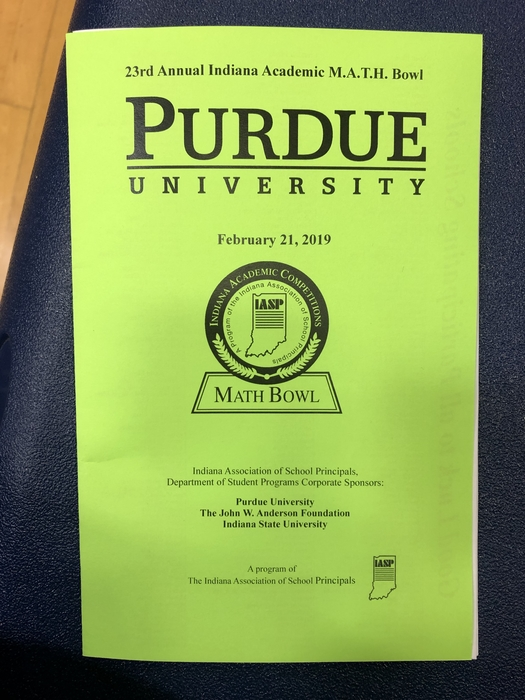 The 23rd Annual MATH Bowl, sponsored by Purdue.