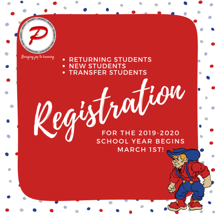 Registration begins March 1st for Plainfield students for the 2019-2020 school year!