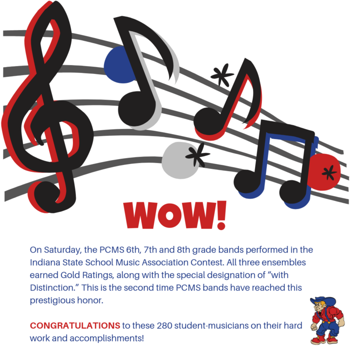 Congratulations to the PCMS 6th, 7th and 8th grade bands for their excellent performances at Saturday's ISSMA contest!