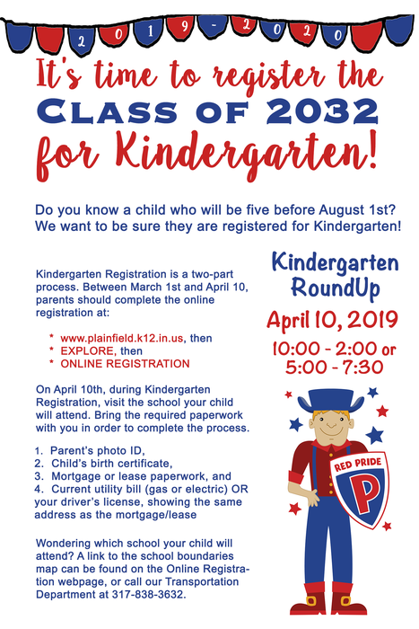 Kindergarten RoundUp is April 10th!