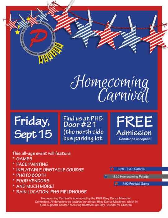 Homecoming carnival flyer with details of the events