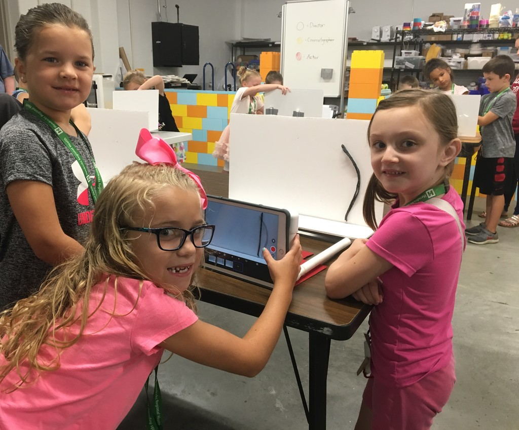 Campers use ipads to make stop motion animation videos.