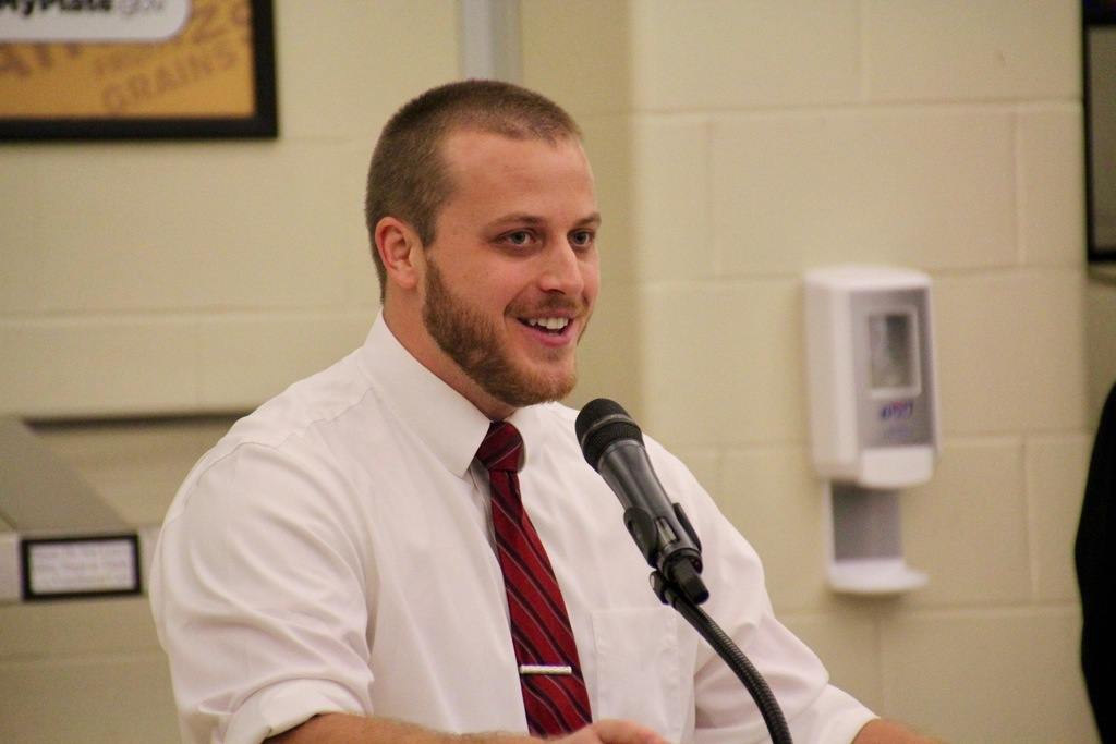 2020 Plainfield Teacher of the Year, Adam Ferguson, addresses his peers at the Welcome Back Breakfast