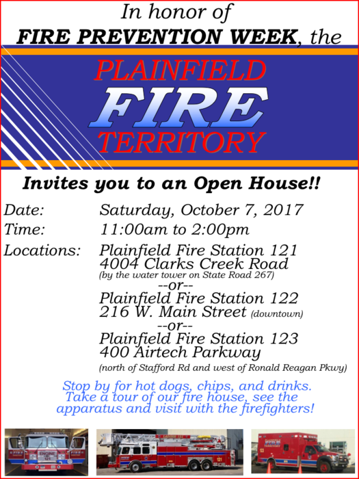 Flyer with details of Fire Prevention Week Open House, 10/7