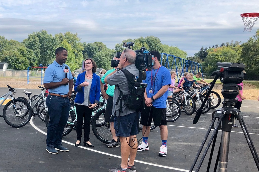 Central Principal, Julie Thacker, talks with WISH-TV8 about the Trailblazers in Motion program. Next to Mrs. Thacker are Dennis Gibbs and Eli Wheeler.