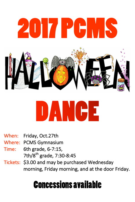 Come join us at the PCMS Halloween Dance