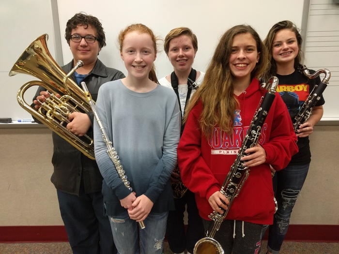 These five PCMS students qualified for the IBA All-Region Band!