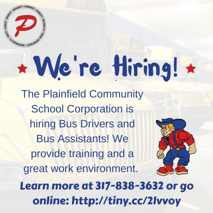 The PCSC Transportation team is hiring bus drivers and assistants! Call 317-838-3632 for more information.