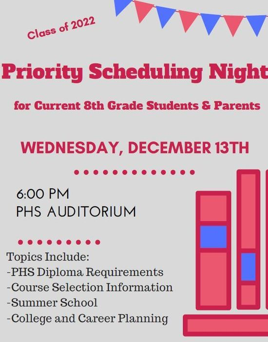 Class of 2022 Priority Scheduling Night
