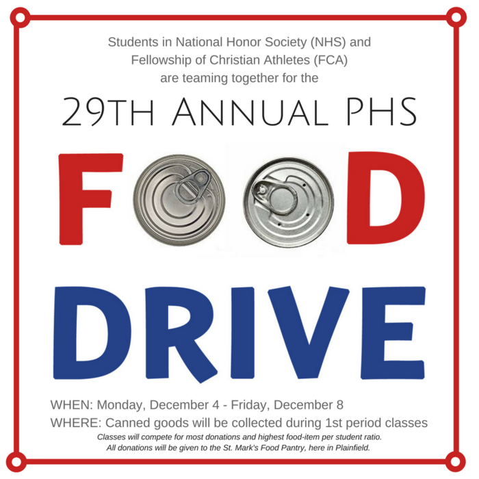 29th Annual Food Drive: 12/4 - 12/8