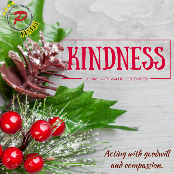 The Community Value for December is Kindness: Acting with goodwill and compassion.