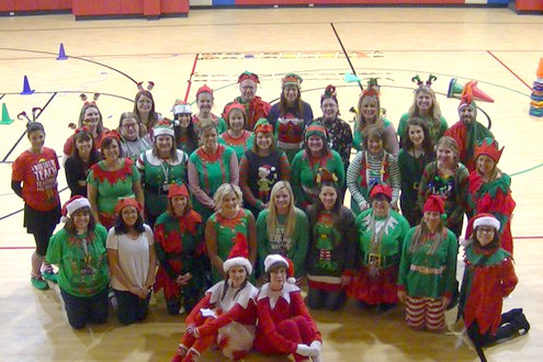 The staff of Central Elementary dressed as Elves for the last day of the semester.