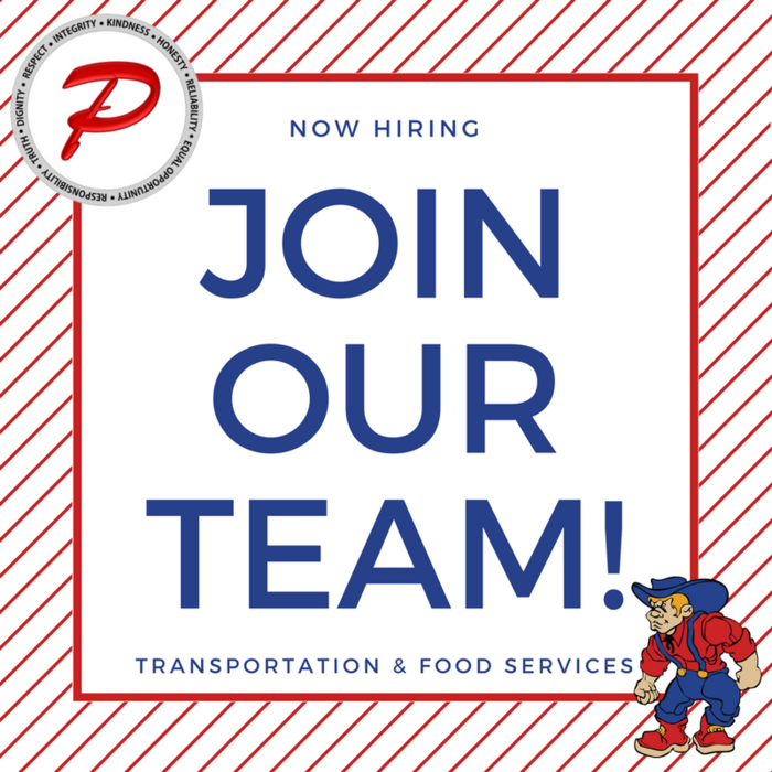 Join our team! Now hiring for Transportation and Food Services