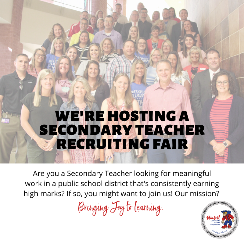Secondary Teachers' Recruiting Fair - February 18 at Plainfield High School