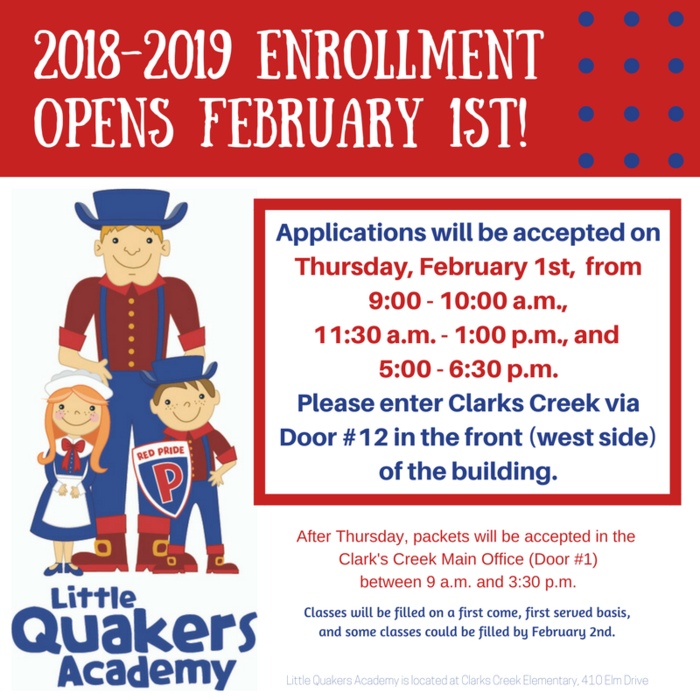 2018-2019 Enrollment for Little Quakers Academy opens February 1st!