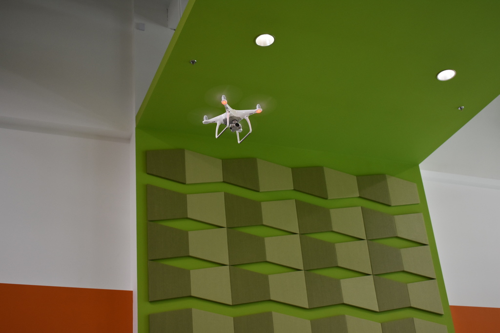 Drone flying in the air at the Imagination Lab